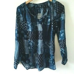 NWT! American Living Plaid Popover Top w/Tassels